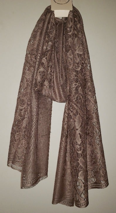 LIB Taupe Lace Lightweight Scarf