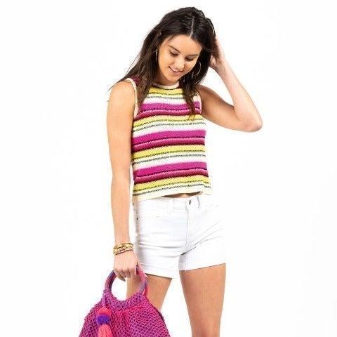 [Francesca's] Neon Stripe Sweater Tank
