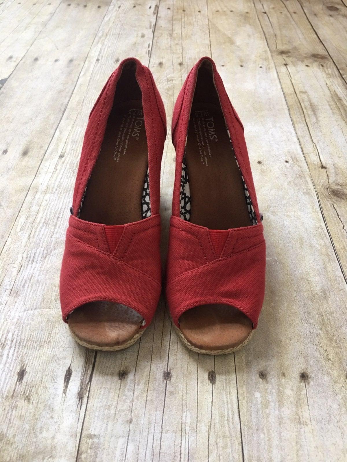 Toms Wedge Peep Toe Shoes