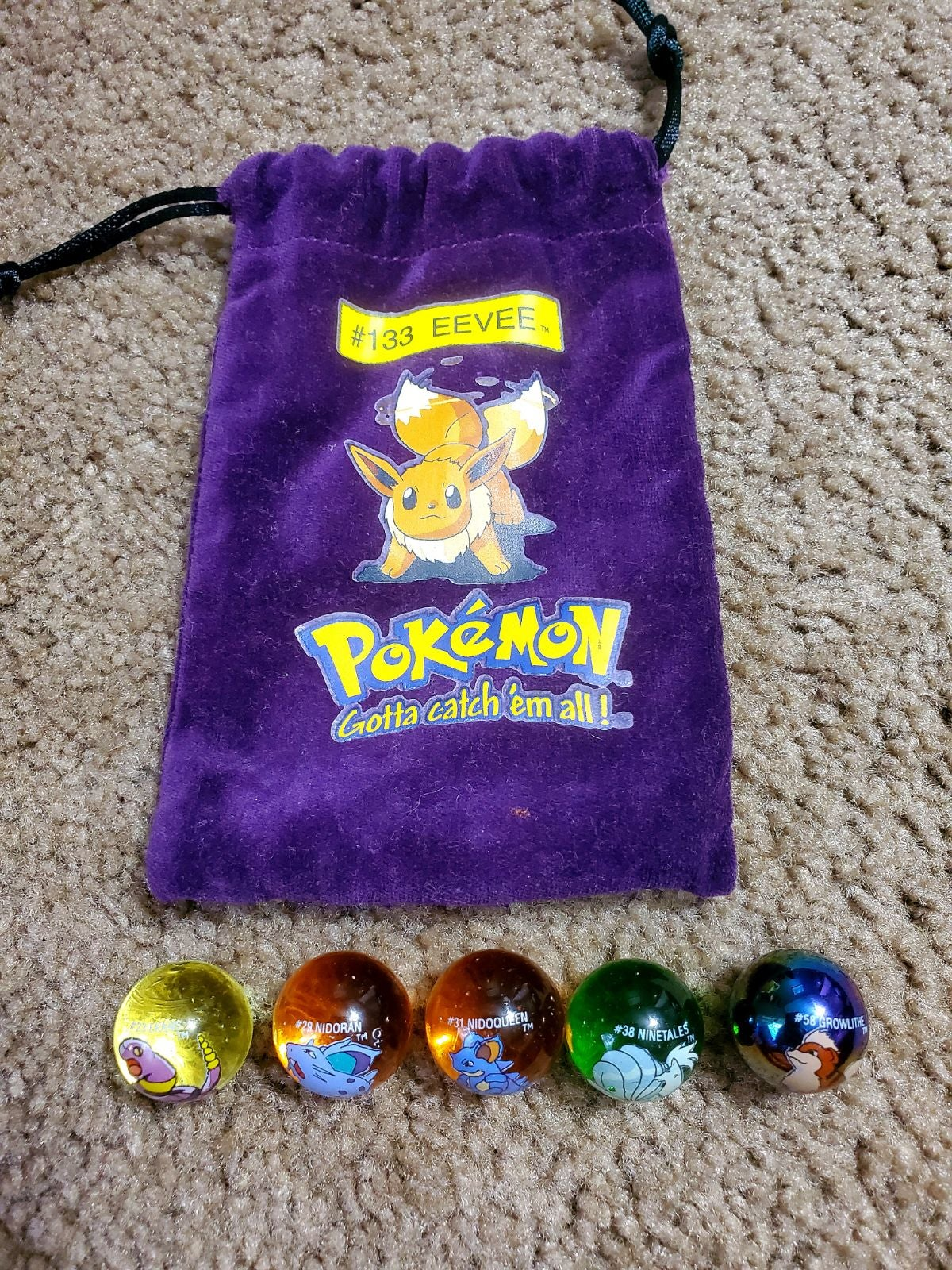 Pokemon marbles and bag