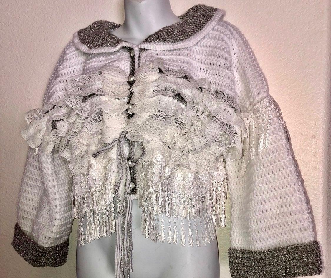 Crocheted white/grey acrylic/lace jacket