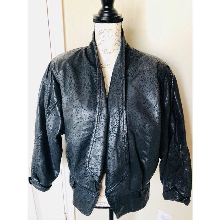 Bermans Leather Vtg Laser Cut Jacket