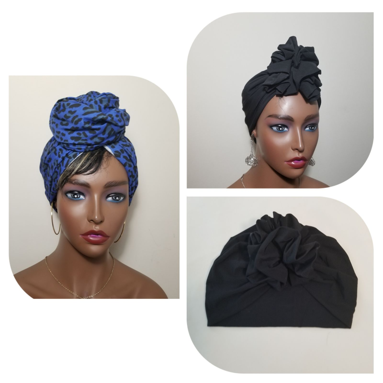 Black Pretied Turban & LeopardHeadwrap(