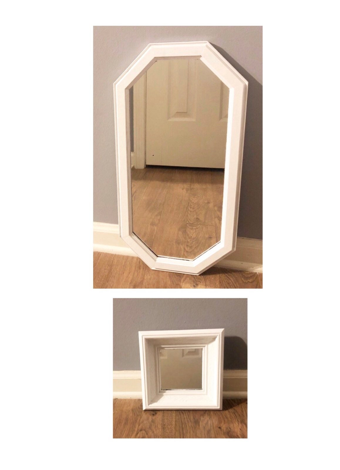 2 White Hand Painted Wooden Wall Mirrors