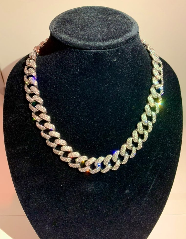 Silver Cuban Necklace Iced