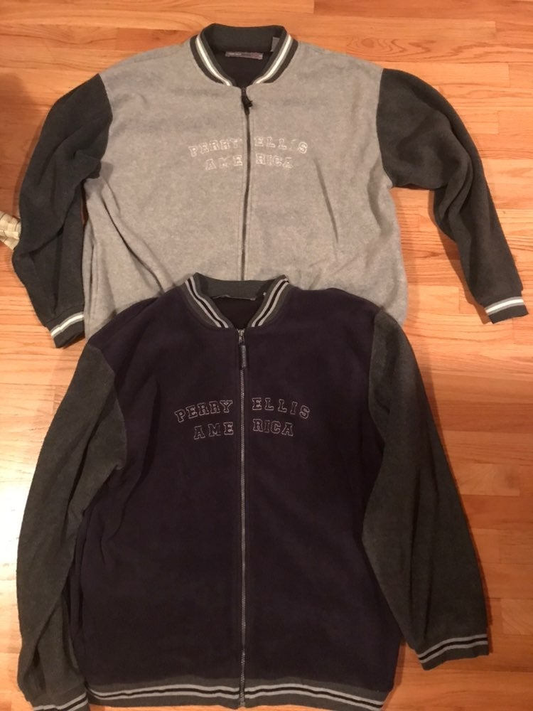 Mens XL Perry Ellis fleece zip up jacket
