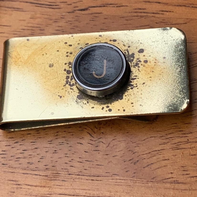 J typewriter key money clip