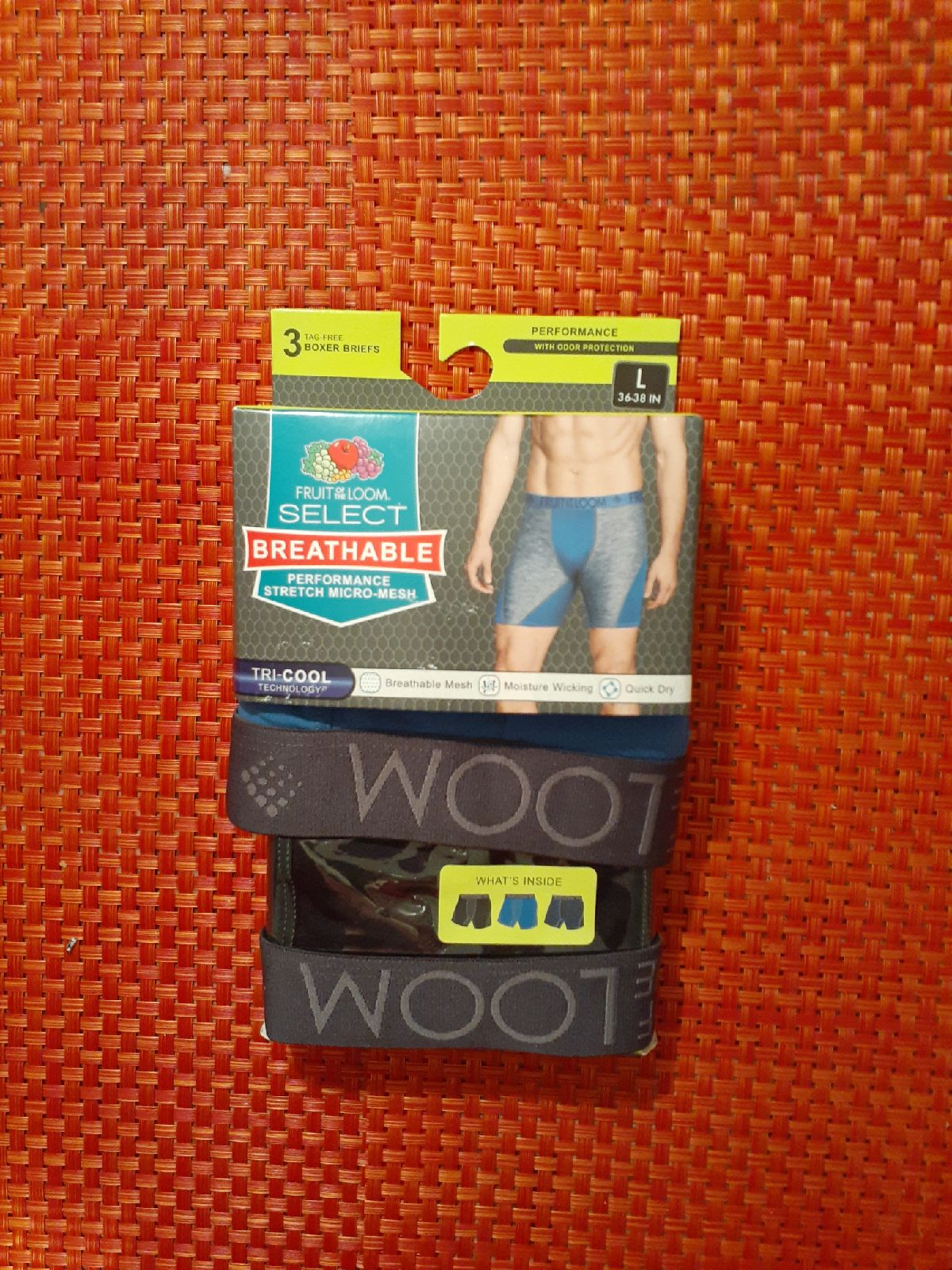 Size L Fruit Of the Loom Mens Boxer Brie
