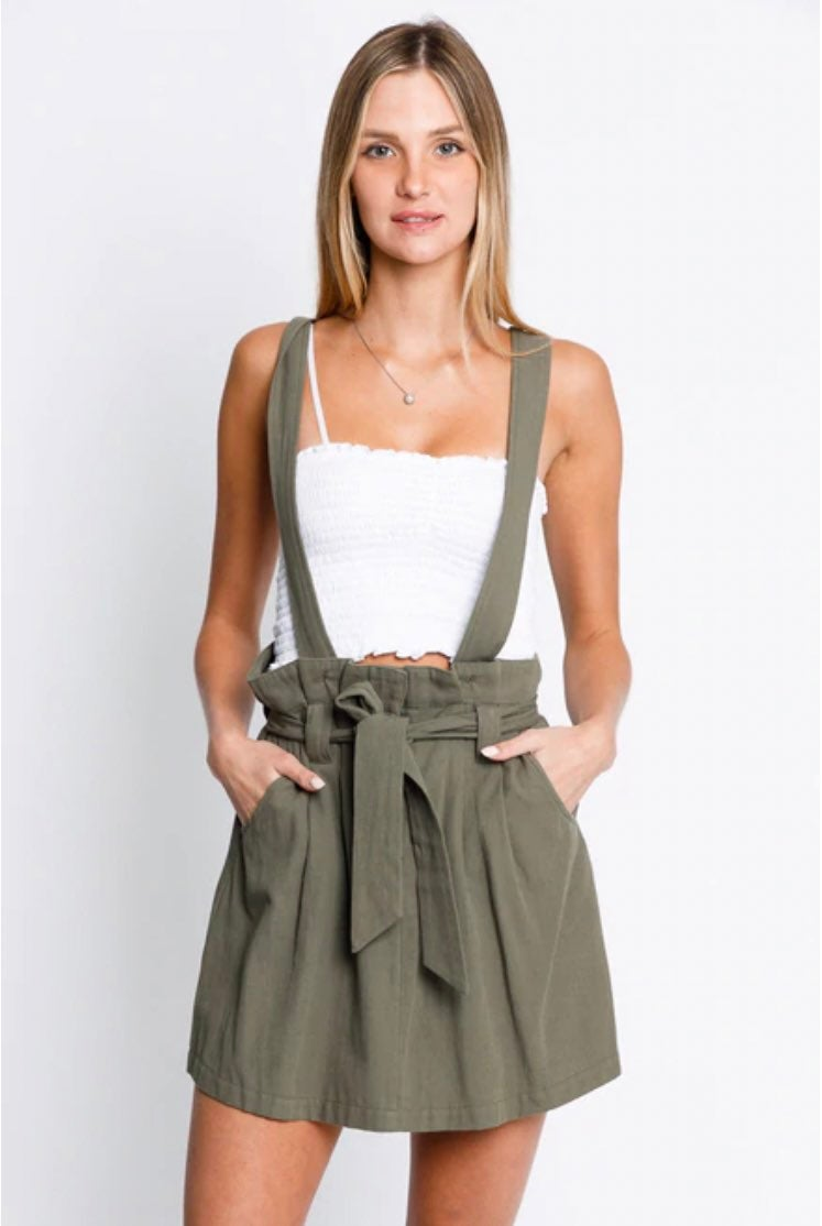 New Olive Green Dress with Suspender and