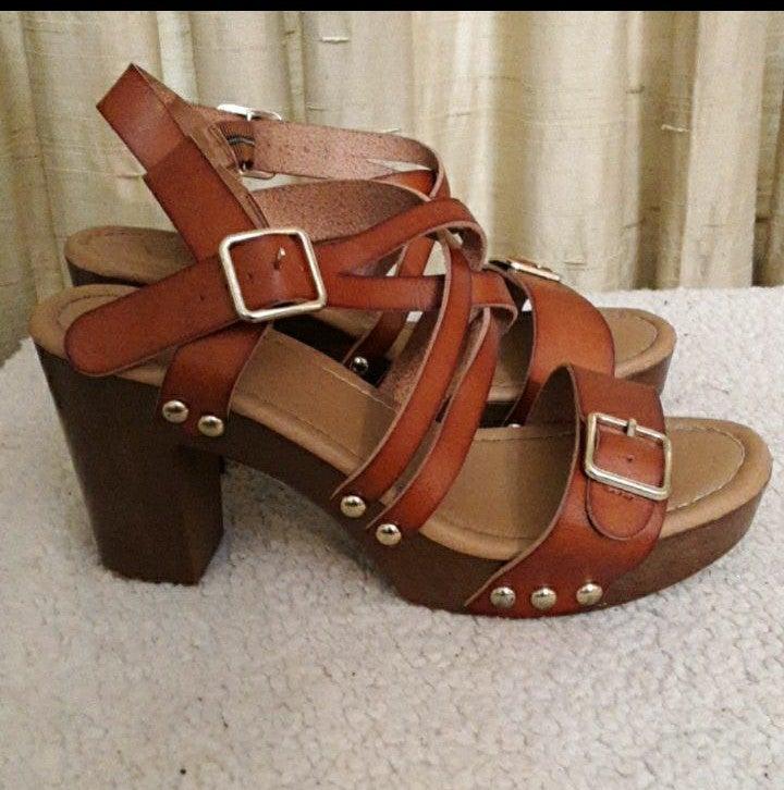 Est 1946 Faux Leather Brown Sandals 9