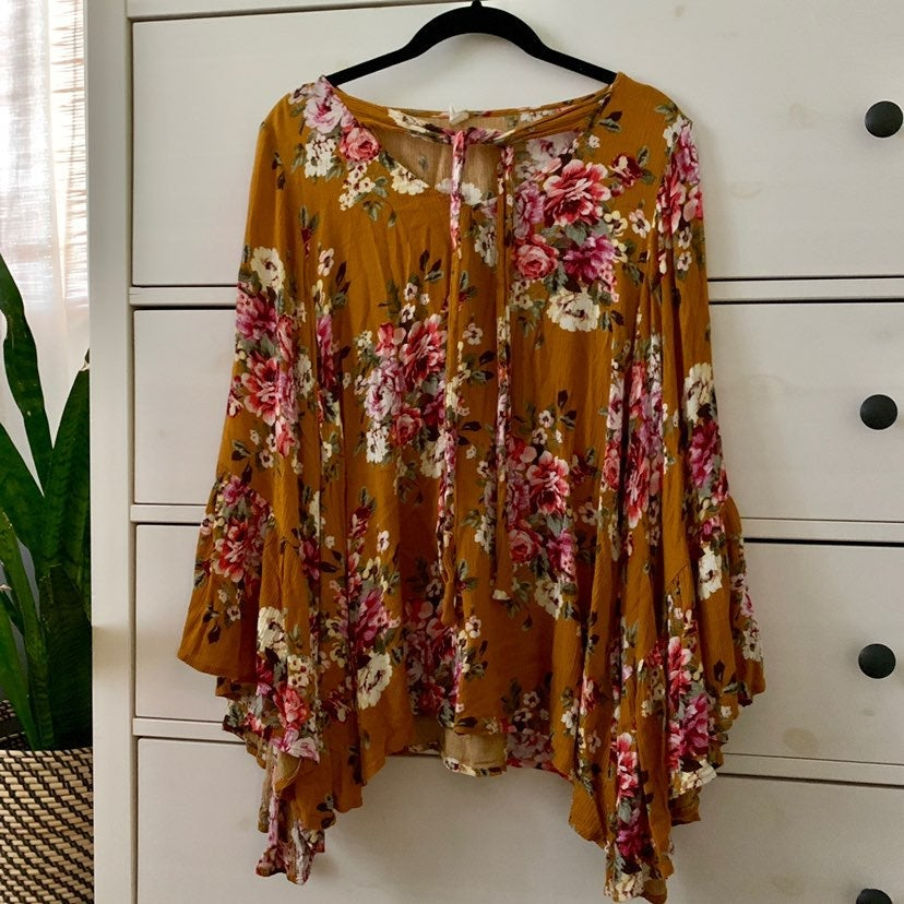 Pinkblush floral bell sleeve blouse