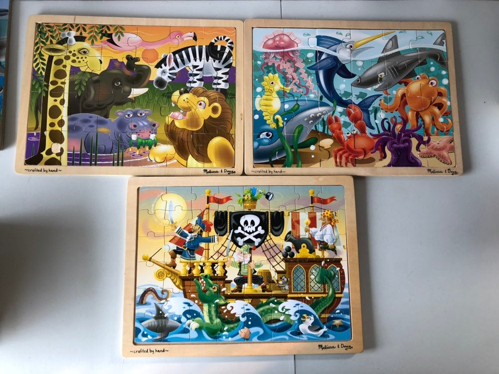 Lot of 3 Melissa and Doug Wood Puzzles