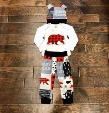 Baby Boy Buffalo Plaid Outfit 12M