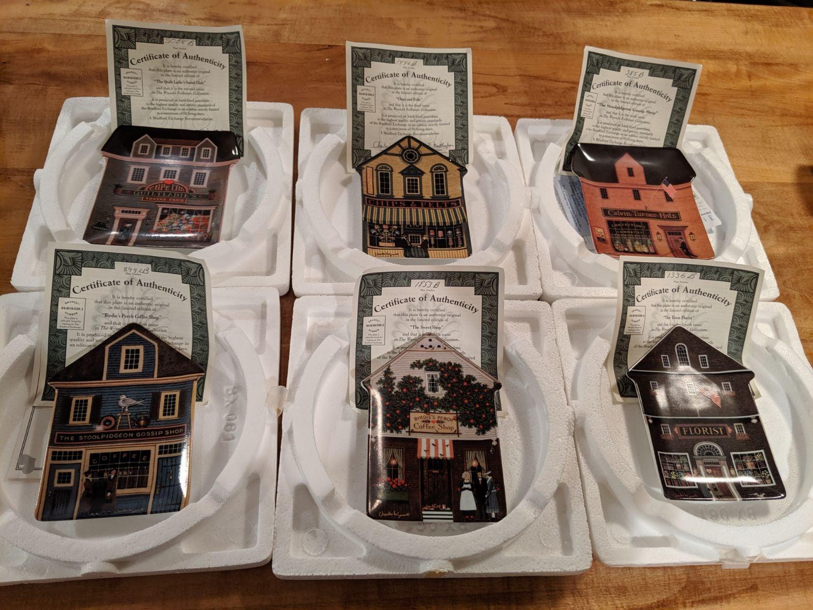 Wysocki Folk Town Collection Plates Set