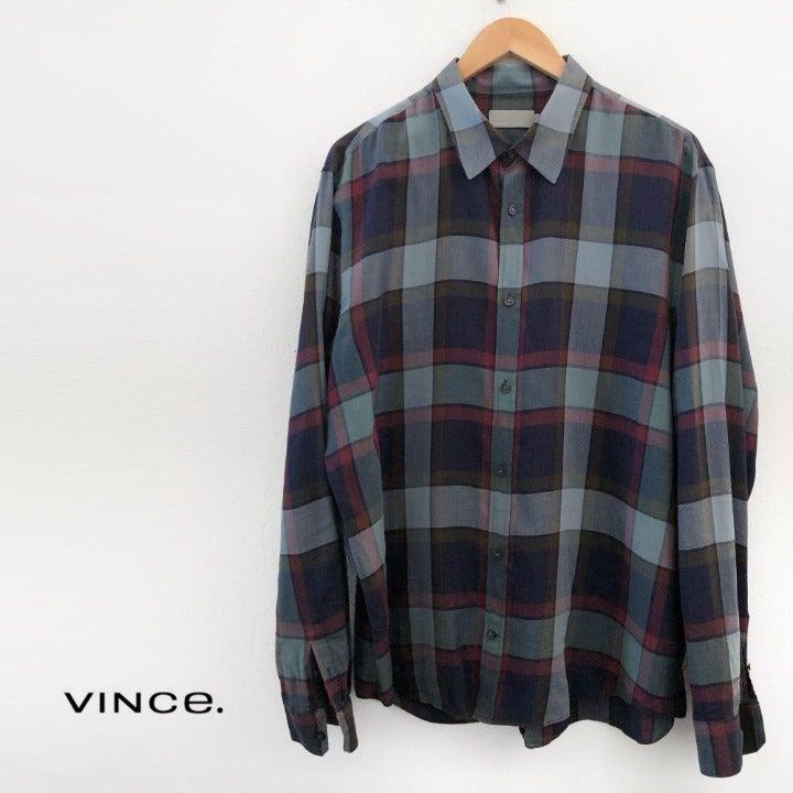 VINCE Casual Plaid Print Shirt XL