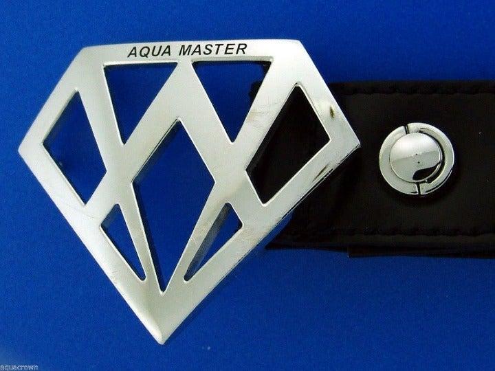 Aqua Master Men's Genuine Black Leather