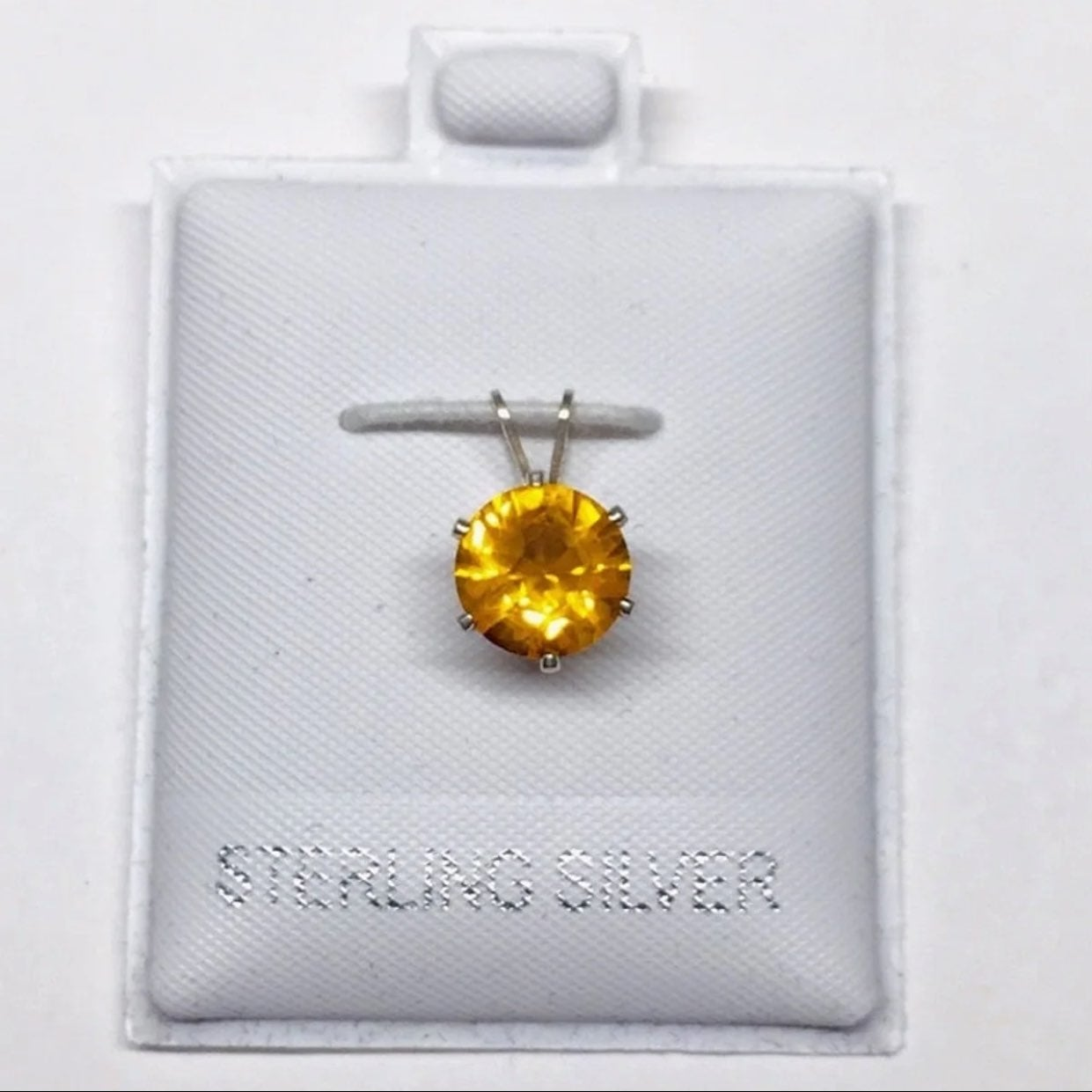 Golden Orange CZ Sterling Silver Pendant