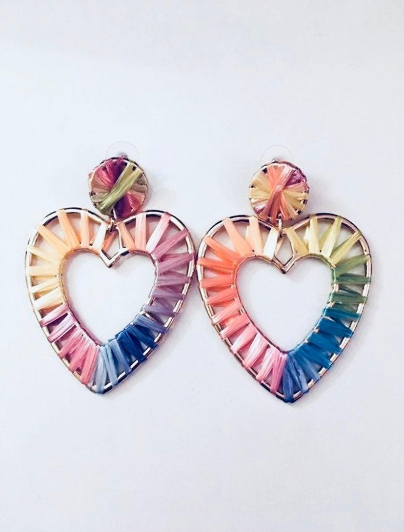 Bohemian Raffia Rainbow Heart Earrings