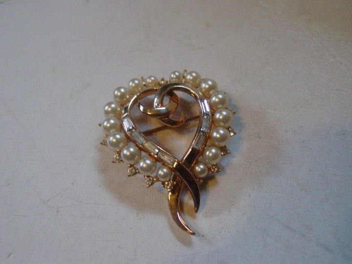 Vintage Crown Trifari Pearl Heart Brooch