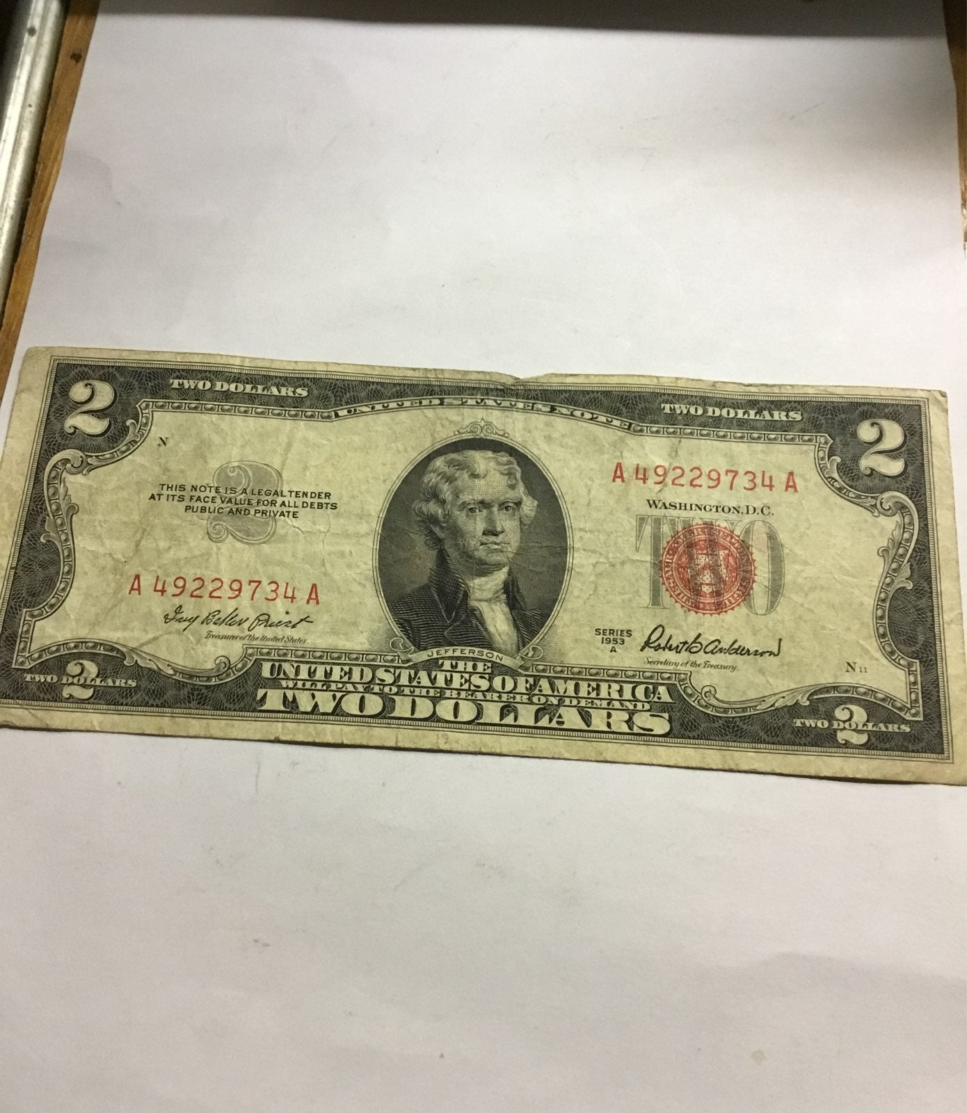 $2.00 bill US Note 1953 red seal
