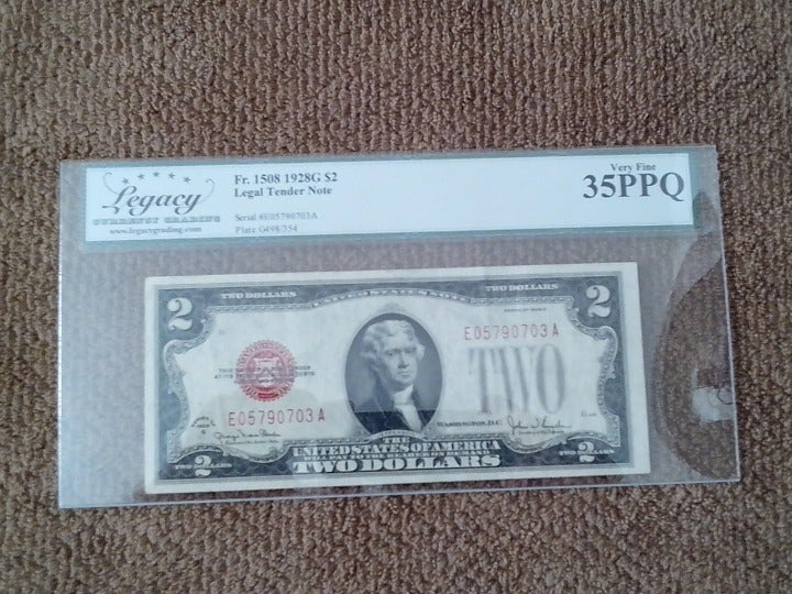 1928 $2 BANKNOTE, VF,RED SEAL,LEGACY 35
