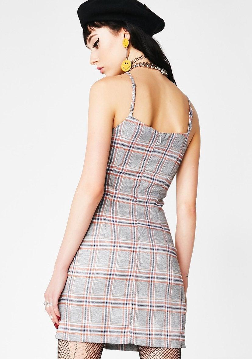 Gray Plaid Mini Dress