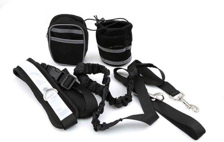 Black Hands Free Leash Set Dog Walk NEW