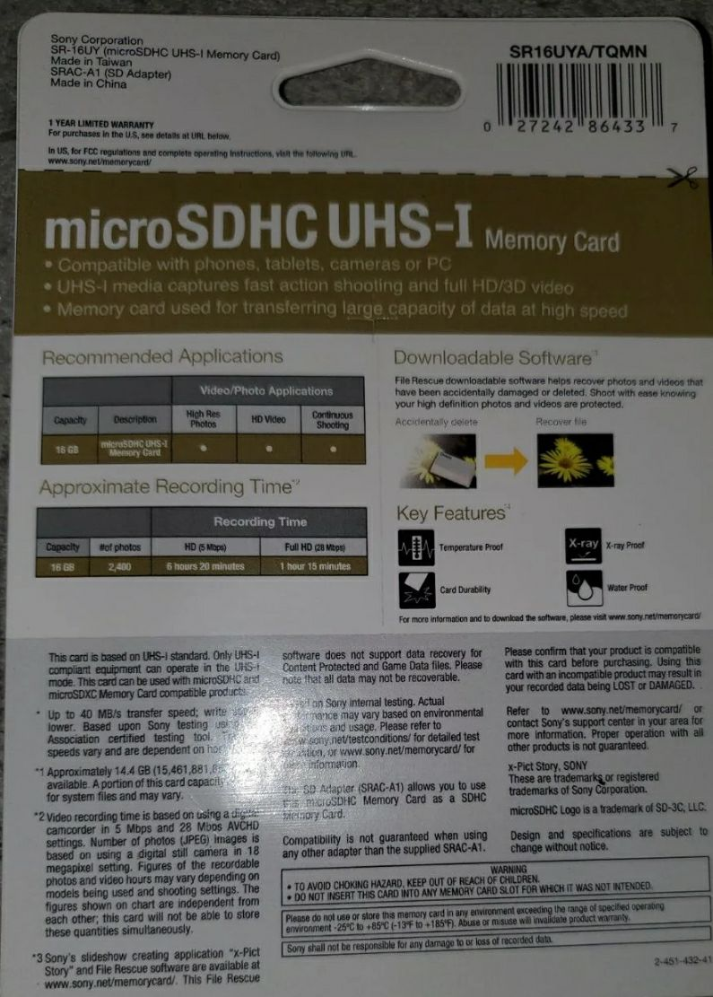 MicroSDHC UHS-I MEMORY CARD
