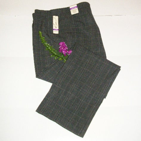 Kim Rogers 14R Pants Gray Plaid NWT