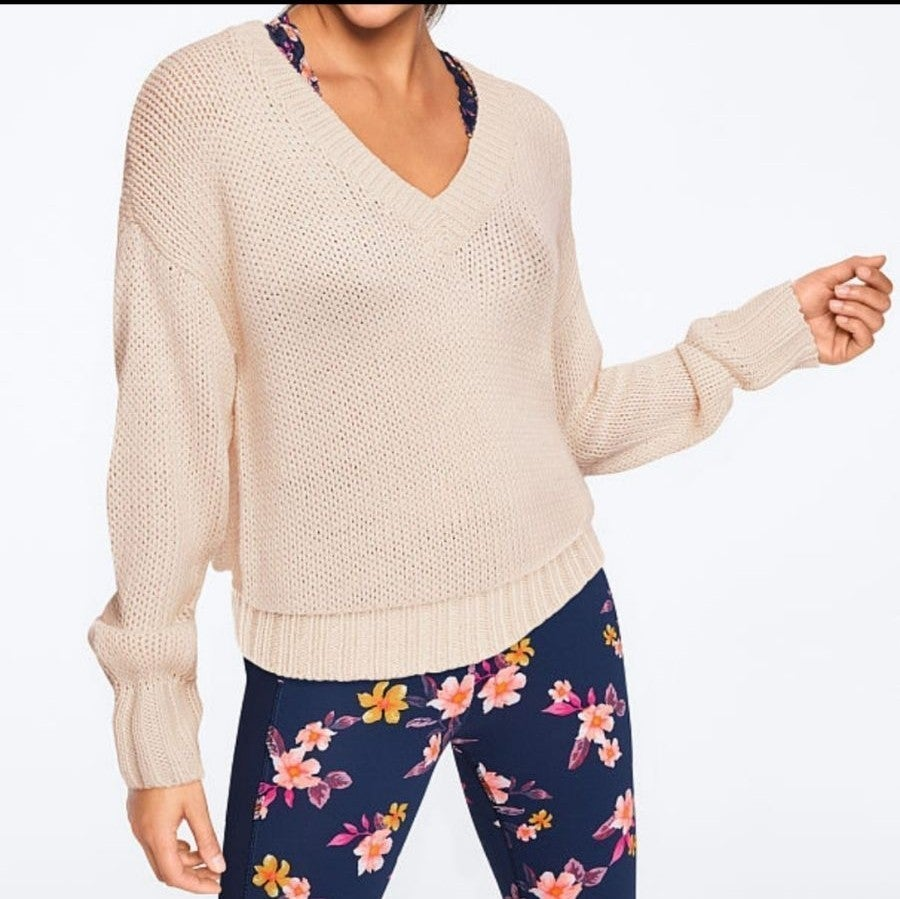 VS PINK Cream V Neck Sweater*