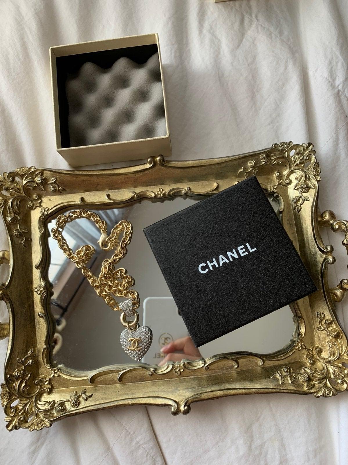 Chanel heart rhinestone necklace