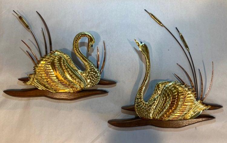 MCM Brass Copper Wood Swans Wall Art