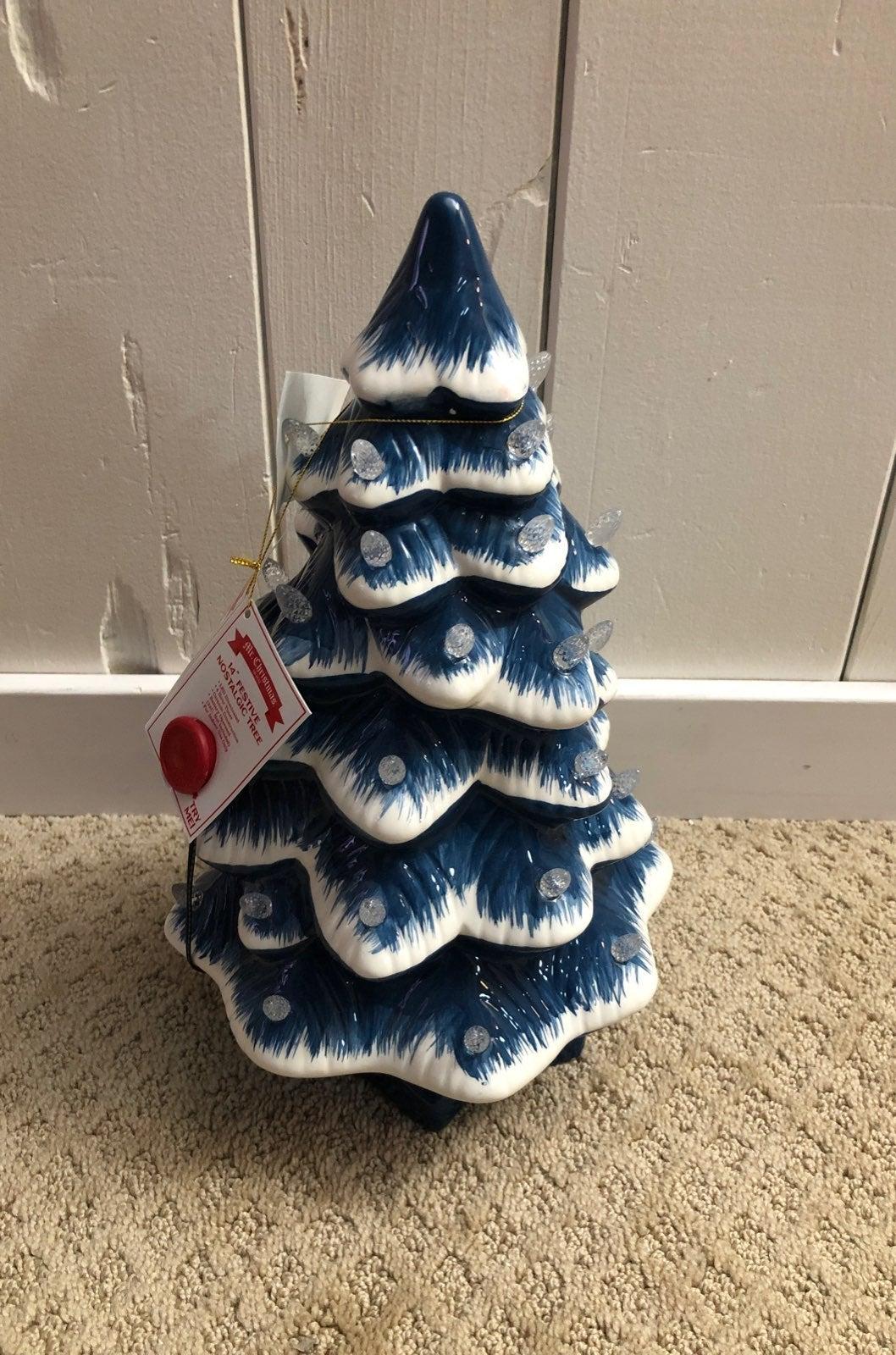 """Mr Christmas Blue Ceramic Tree 14"""""""