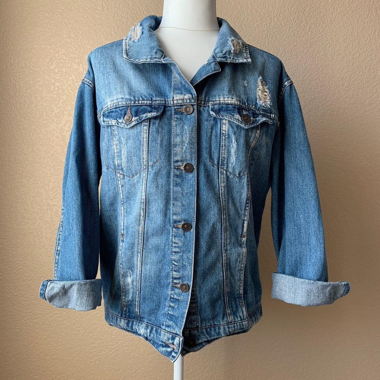 HWY Jeans Distressed Jacket Size M