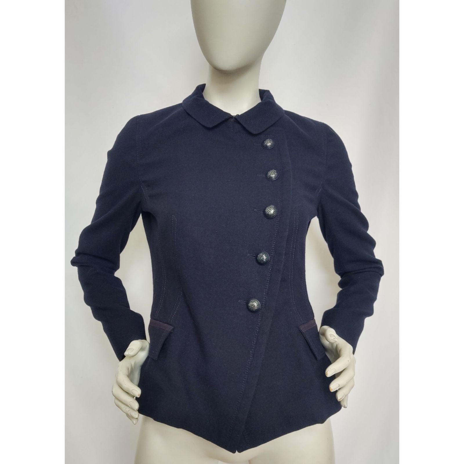 Rene Lezard Dark Blue Wool Jacket Blazer