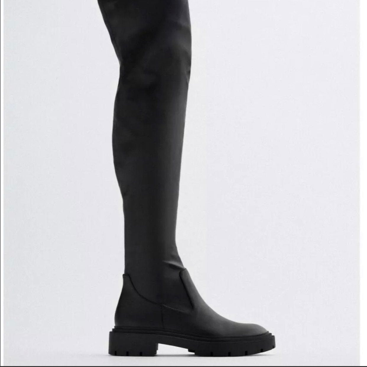 Size 36 NEW ZARA Black Multicolor Glitter Fabric Over The Knee Boots