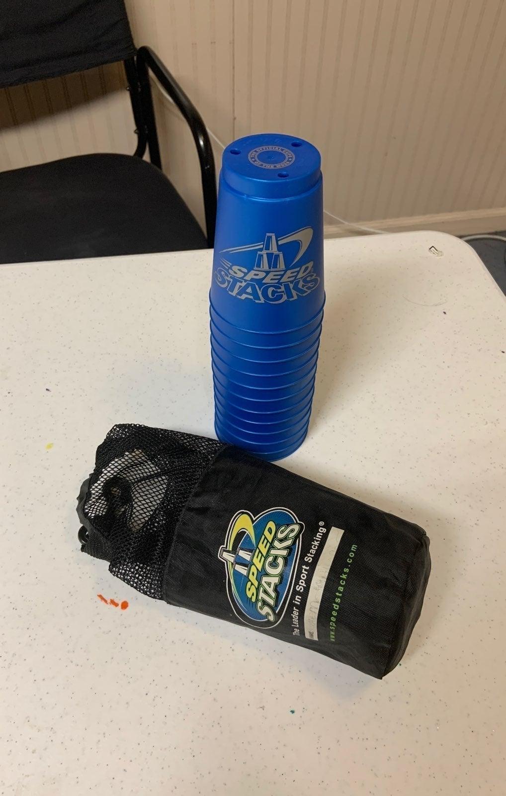 Blue Speedstacks cups with bag