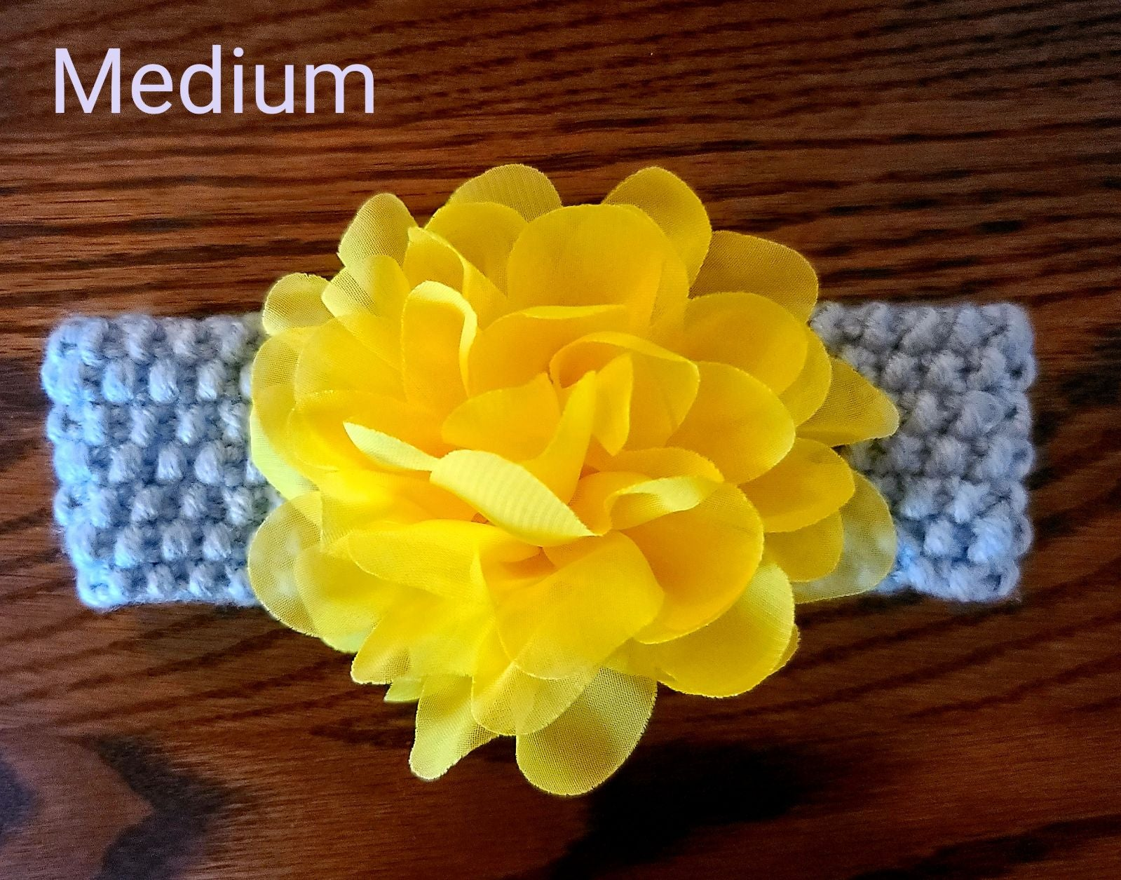 Knit Baby Headband Gray with Yellow Flow