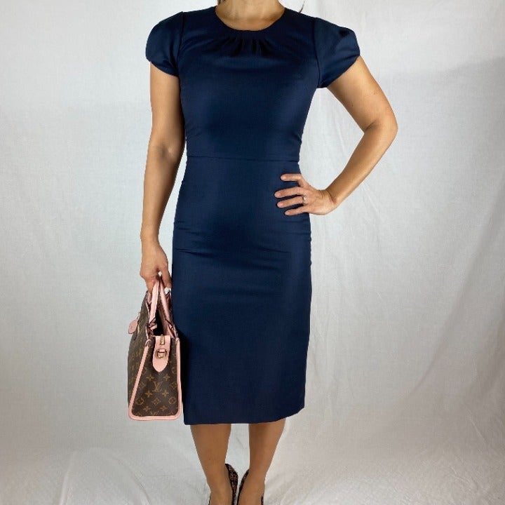 J. Crew Navy Wool Sheath Midi Dress Sz 0