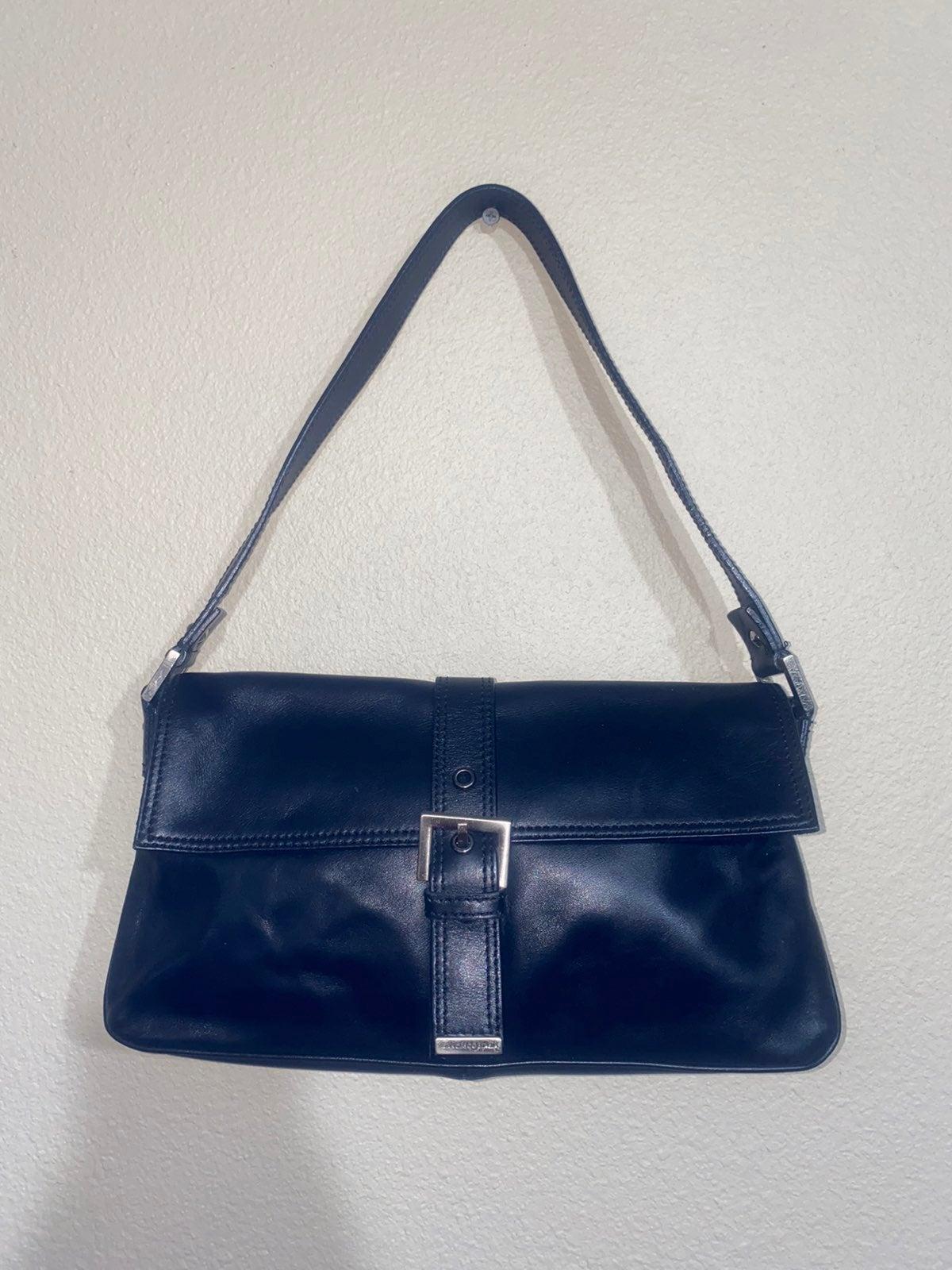 90s Vintage Shoulderbag Francesco BiasiaBlack brown shoulder bagshoulder strap Francesco BiasiaCross bag leather design Italy