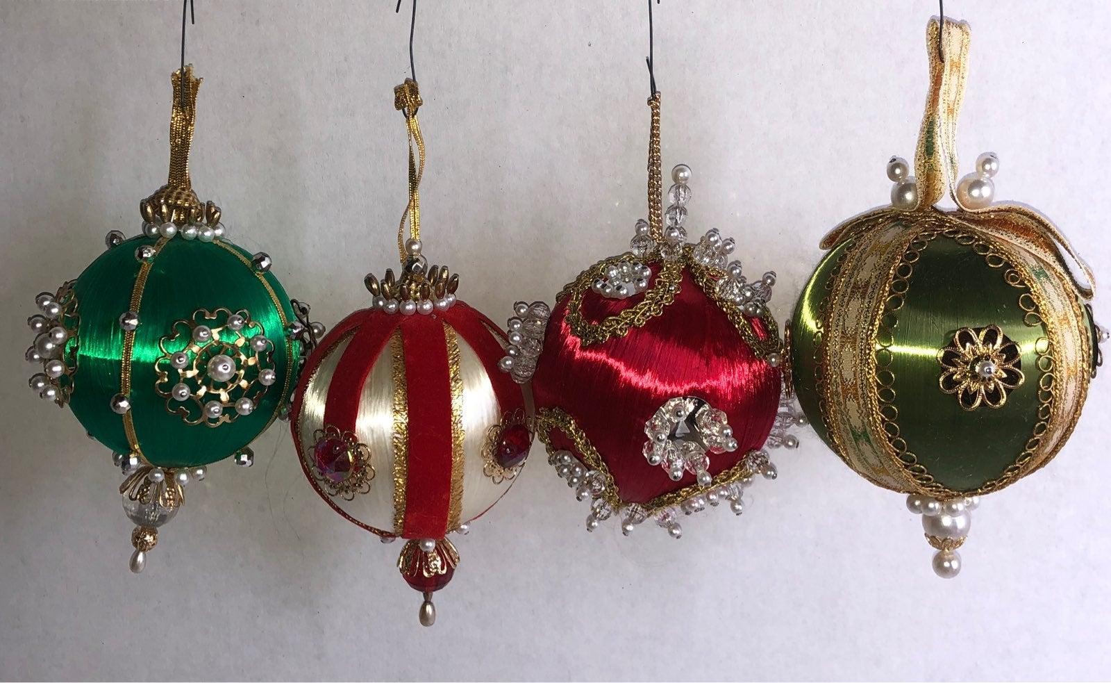 Vintage Satin beaded Christmas Ornaments