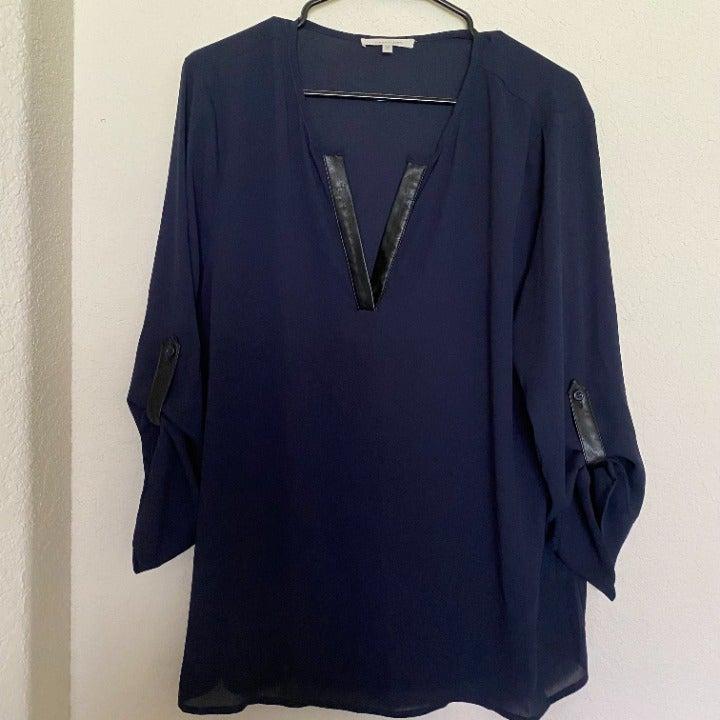 41 Hawthorn Navy Blue Blouse, XL