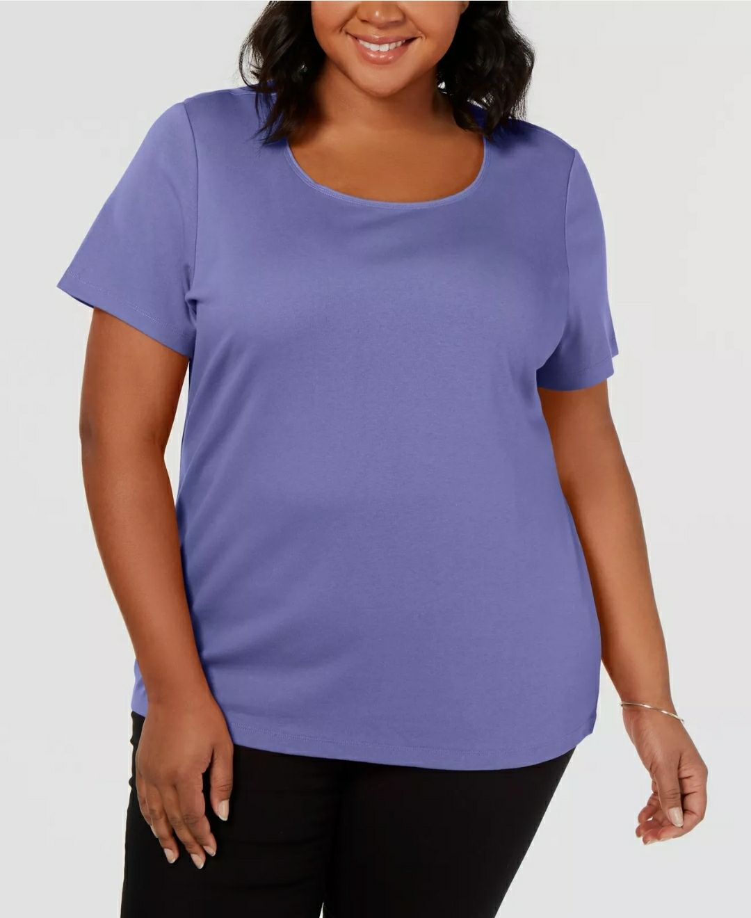 Karen Scott Plus Cotton Scoop-Neck Knit