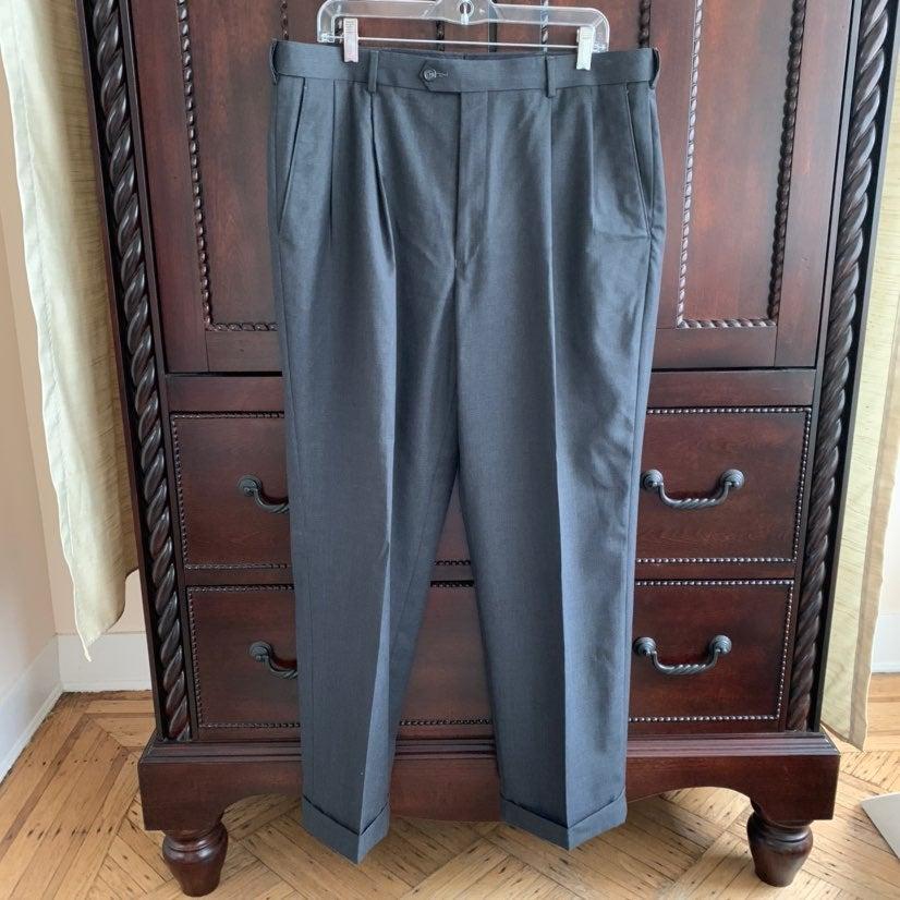 Mens Cuff Dress Pants Dk Gray 38W 30L