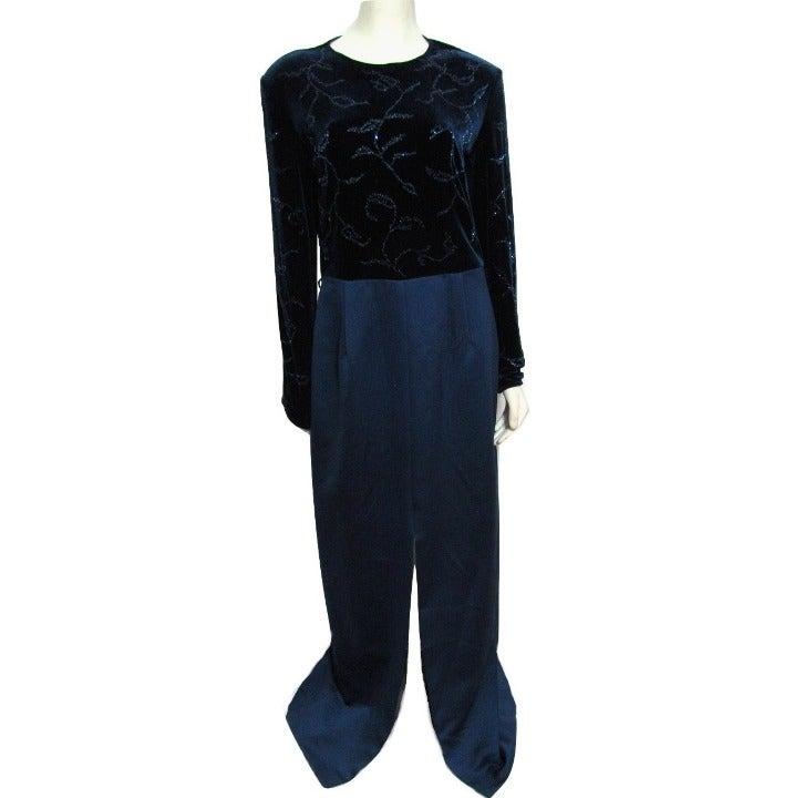NEW Blue Beaded Velvet Formal Dress 12