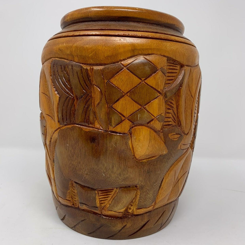 Hand Carved Wooden Vase Elephant Lion