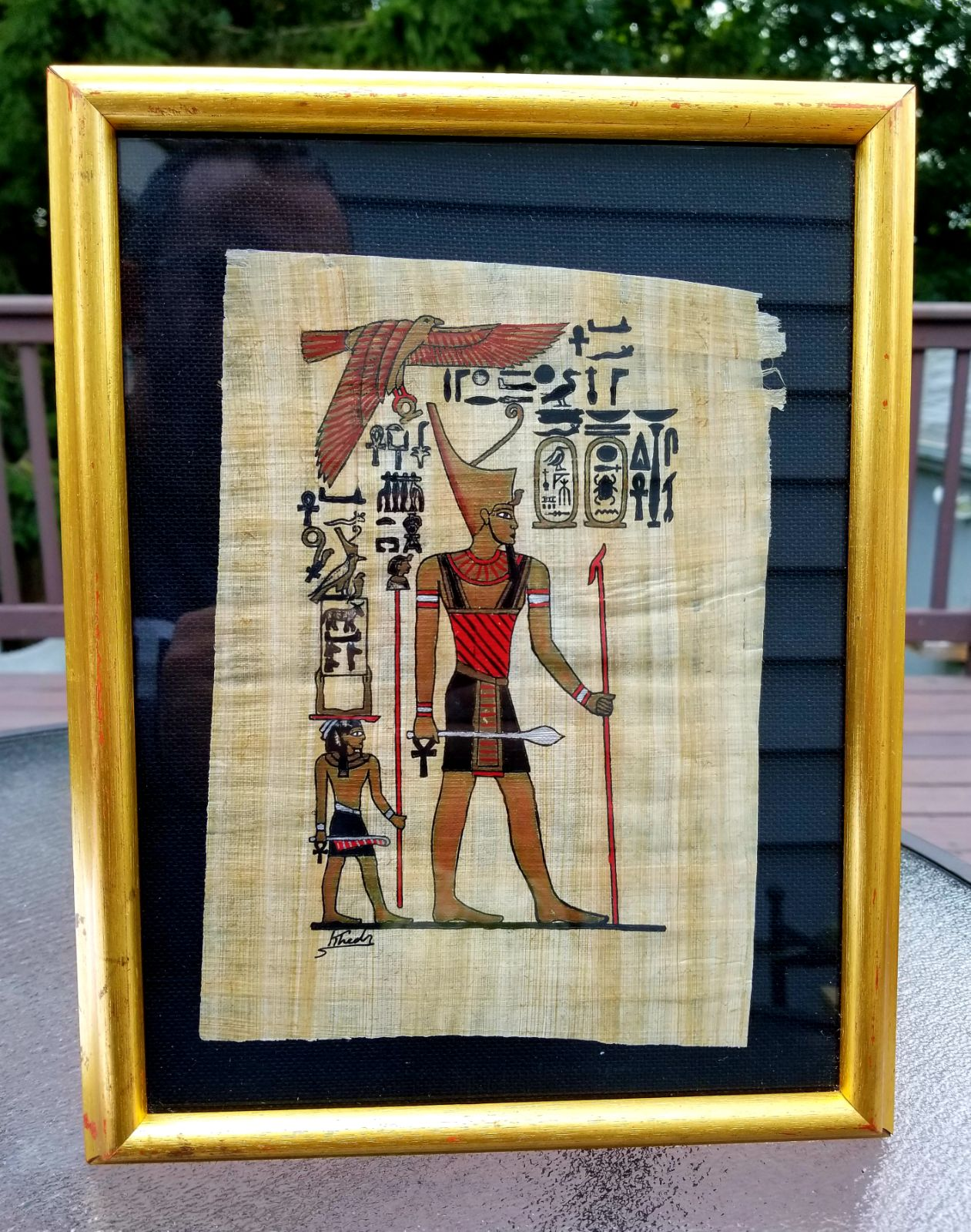 EGYPTIAN PAPYRUS PAINTING REPLICA