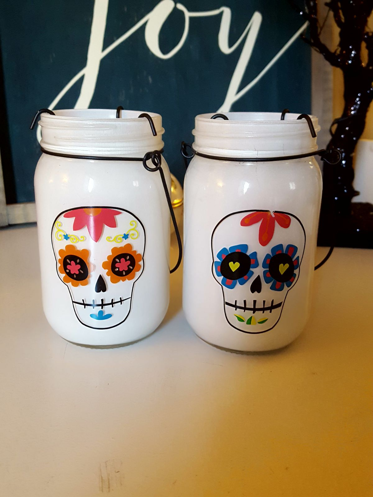 Day of the Dead Halloween candleholders