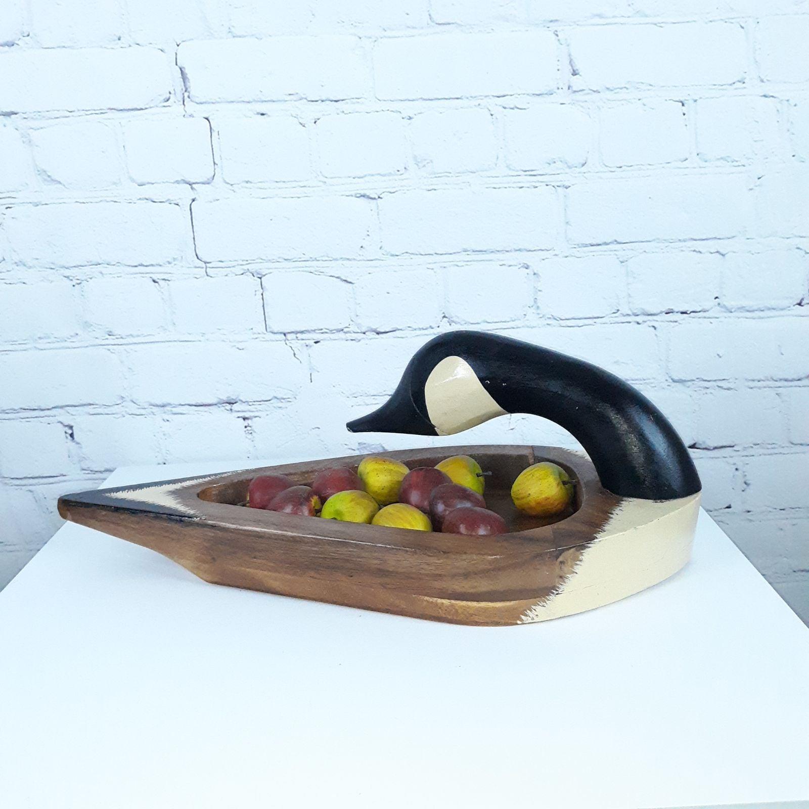 VTG Wooden Canada Goose Nut Fruit Tray
