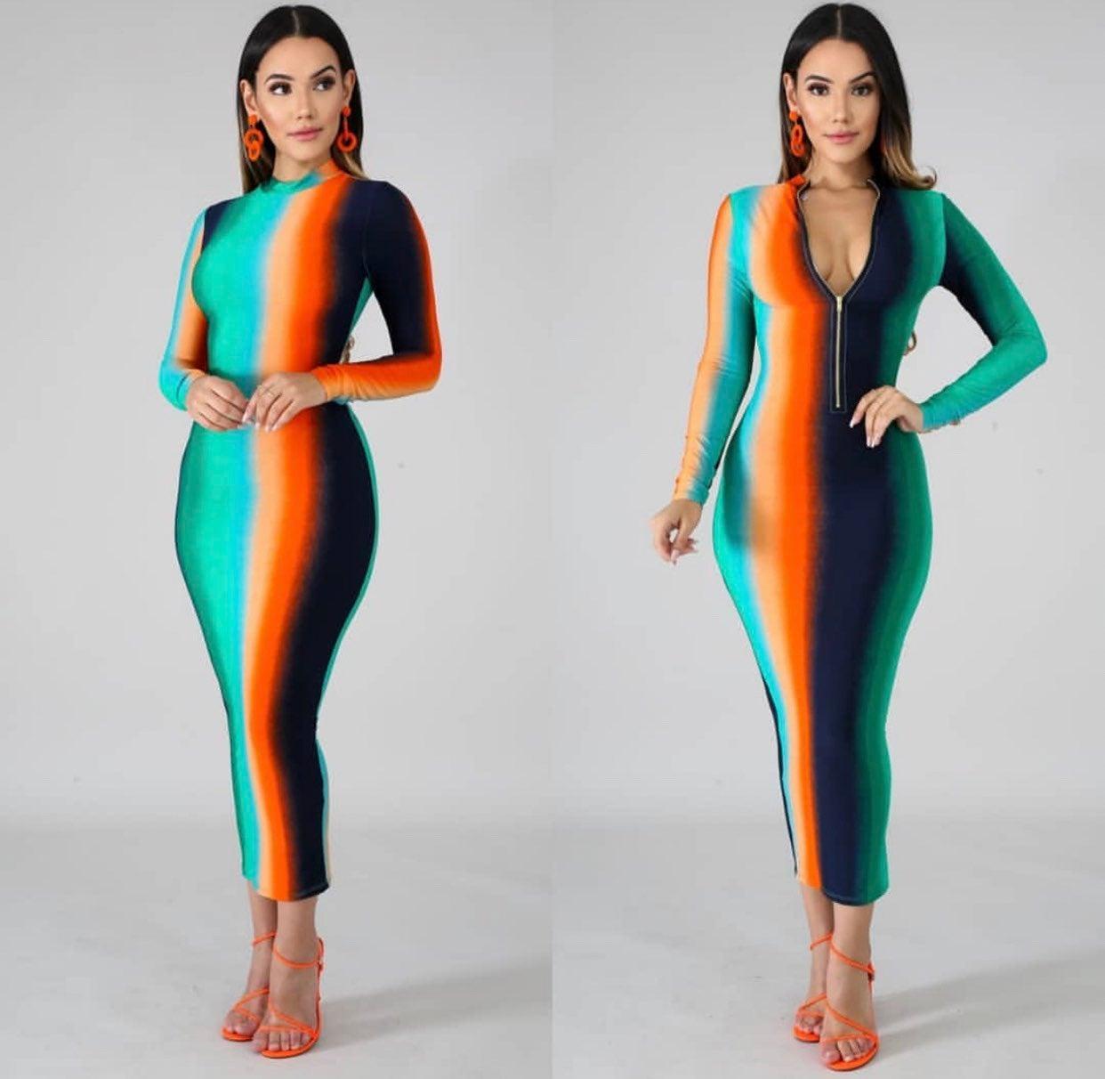 Blue navy orange midi dress